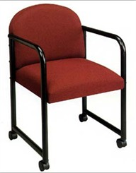 Round Back Chair w/ Casters in Standard Fabric or Vinyl