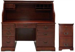 Cherry Roll Top Computer Desk & File Package