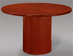Radiant Sunburst Patterned Cherry Veneer Round Tables