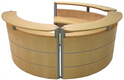 3/4 Round Wood Reception Desk