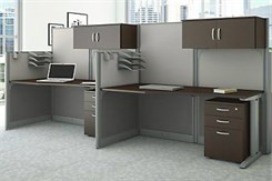 Set of 2 Straight Cubicles w/Storage Accessories