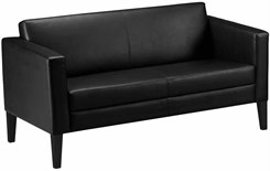 Prestige Black Leather Settee