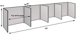 "42""H 4-Person Single Row Open Cubicle for 48""W Desks"