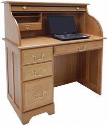 Single Pedestal Solid Cherry Roll Top Desk for Laptops
