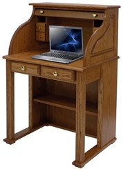 Solid Oak Roll Top Vintage Laptop Desk