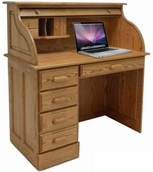 Solid Oak Single Pedestal Roll Top Laptop Desk