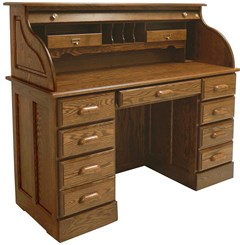 "51""W Solid Oak Roll Top Desk"