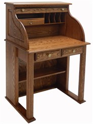 Solid Oak Roll Top Vintage Scholar's Desk