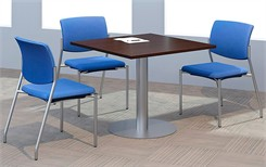 "36"" Quickship Square Table w/Silver Pedestal Base"