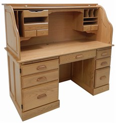Solid Oak Rolltop Computer Desk in Sunglow Finish - IN STOCK!