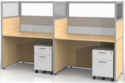 "Sync Custom Cubicles - 57""H 2-Person Workstation"