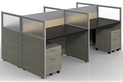 "Sync Double-Sided Custom Cubicles - 43""H 4-Person Bench Workstation"