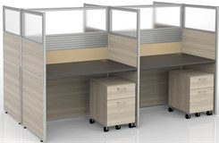 "Sync Double-Sided Custom Cubicles - 57""H 4-Person Workstation"