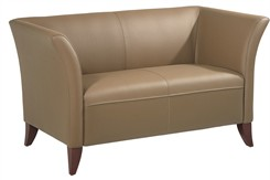 Office Star SL15 Series Taupe Faux Leather Loveseat