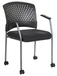 Titanium Finish Rolling Visitors Chair w/ Casters