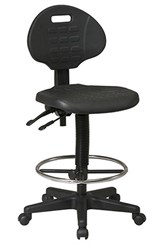"Tough Skin Urethane Ergo-Stool w/ 18"" to 25-1/2"" Seat Height"