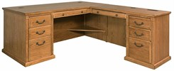 Traditional Oak Executive L-Desk w/ Right Computer Wing