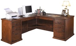 Traditional Oak Executive L-Desk w/ Left Computer Wing