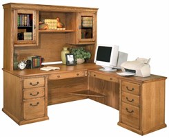 Traditional Oak Executive L-Desk w/ Hutch & Right Computer Wing