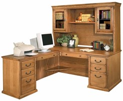 Traditional Oak Executive L-Desk w/ Hutch & Left Computer Wing