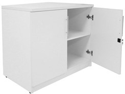 "White 29""H Two-Door Cabinet"