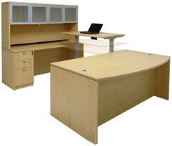 Electric Lift Adjustable Bridge Maple U-Desk w/Hutch
