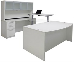 Electric Lift Adjustable Bridge White U-Desk w/Hutch