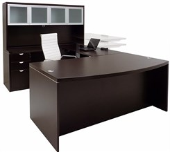 Electric Lift Adjustable Bridge Mocha U-Desk w/Hutch