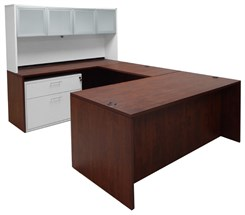 Cherry Executive U-Desk w/Glass Door Hutch