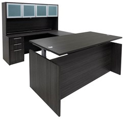 Charcoal Adjustable Height Rectangular Front U-Shaped Desk w/Hutch