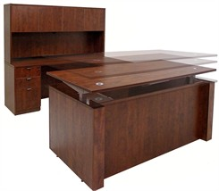 Adjustable Height U-Shaped Executive Office Desk in Cherry