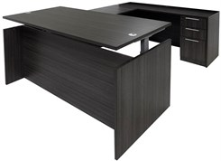 Charcoal Adjustable Height Rectangular Front U-Shaped Desk