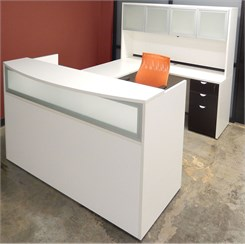 White & Woodgrain U-Shaped Reception Desk