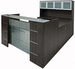 U-Shaped Glass Front Reception Desk w/Hutch
