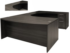 Charcoal Woodgrain Laminate Conference U-Shaped Workstation w/Curved Bridge