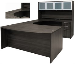 Charcoal Woodgrain Laminate Conference U-Shaped Workstation w/Hutch & Curved Bridge