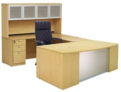 Glass Front Maple U-Shaped Workstation w/Hutch