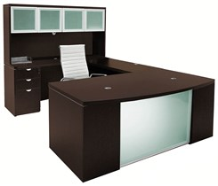Glass Front Mocha U-Shaped Workstation w/Hutch