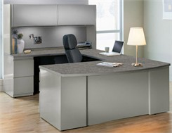 U-Shaped Workstation w/ 2-Door Hutch
