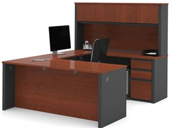 U-Shaped Desk w/ Hutch & 2 Box/Box/File Sets