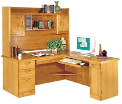 Waterfall Genuine Oak Furniture Collection -- Executive L-Desk With Right Computer Wing