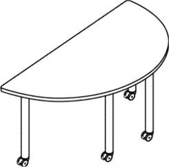 "60""W x 30""D Half-Round Table W/Locking Casters"