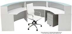 White Half Round Curved Glass Top Reception Desk