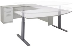 Electric Lift Adjustable Height White U-Desk