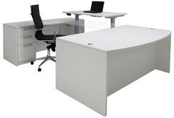 Electric Lift Adjustable Bridge White U-Desk