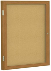 "Wood Frame Cork Bulletin Board  - 30""X36""  1 Door"