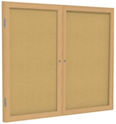 "Wood Frame Cork Bulletin Board  - 48""X36""  2 Door"