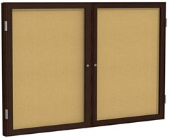 "Wood Frame Cork Bulletin Board  - 60""X36""  2 Door"