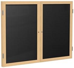 """Wood Frame Enclosed Letter Board - 60"""" X 36"""" 2 Door"""