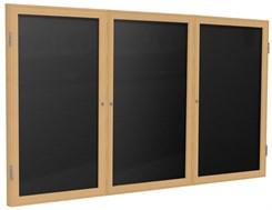"""Wood Frame Enclosed Letter Board - 72"""" X 36"""" 3 Door"""